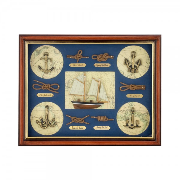 WOODEN FRAME WITH NAVY DETAILS 21017/Α