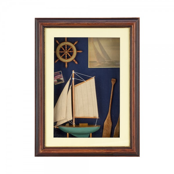 WOODEN FRAME WITH NAVY DETAILS F24131/F