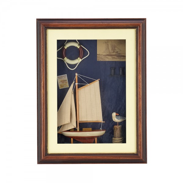 WOODEN FRAME WITH NAVY DETAILS F24131/G