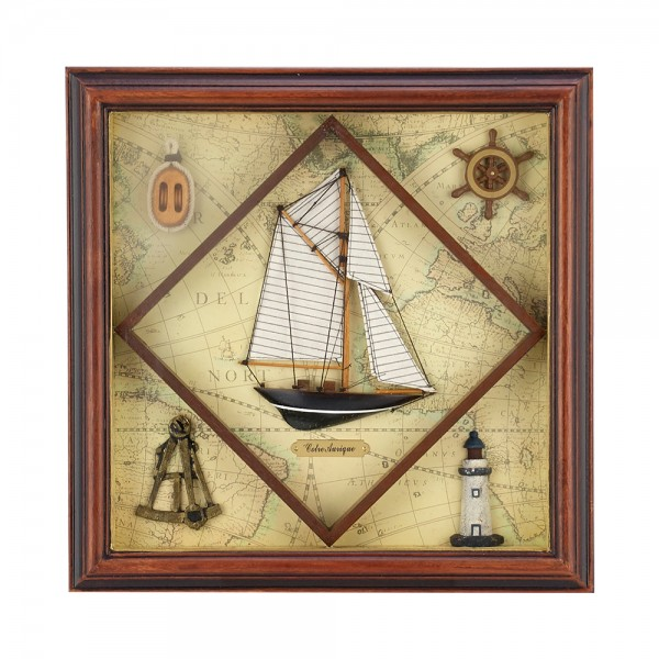 WOODEN FRAME WITH NAVY DETAILS F23636/B